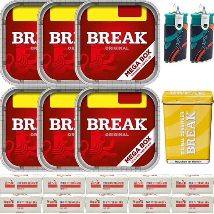 Break Original 6 x 170g mit 2000 King Size Hülsen