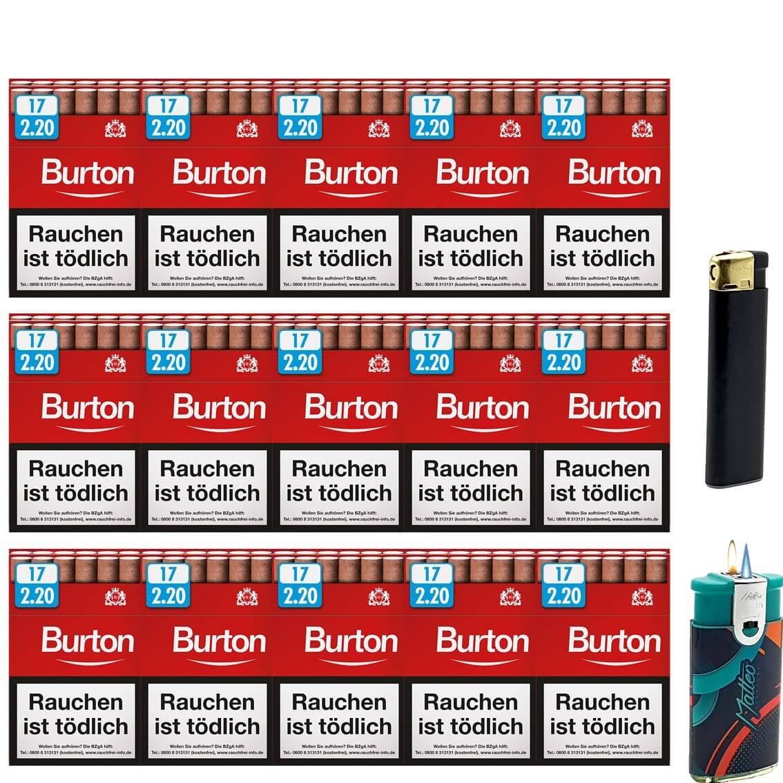 Burton Original Zigarillos mit Filter (3 Stangen) 30 x 17 Stück