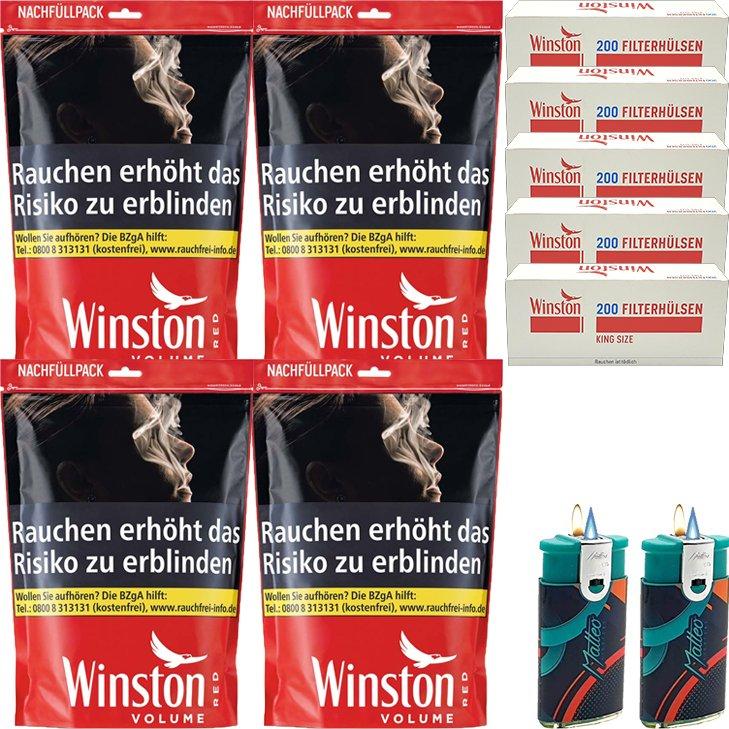 Winston Red 4 x 125g mit 1000 King Size Hülsen