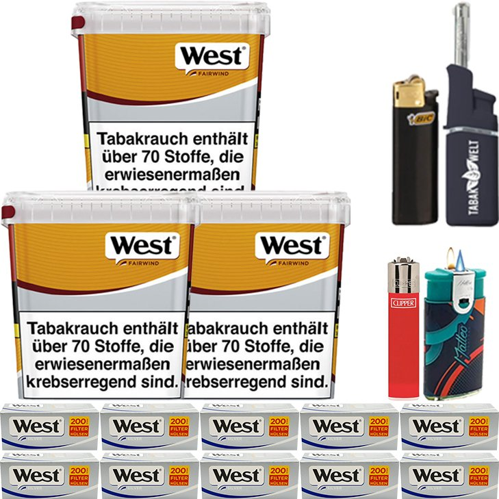 West Yellow Fairwind 3 x 310g mit 2000 Silver King Size Hülsen