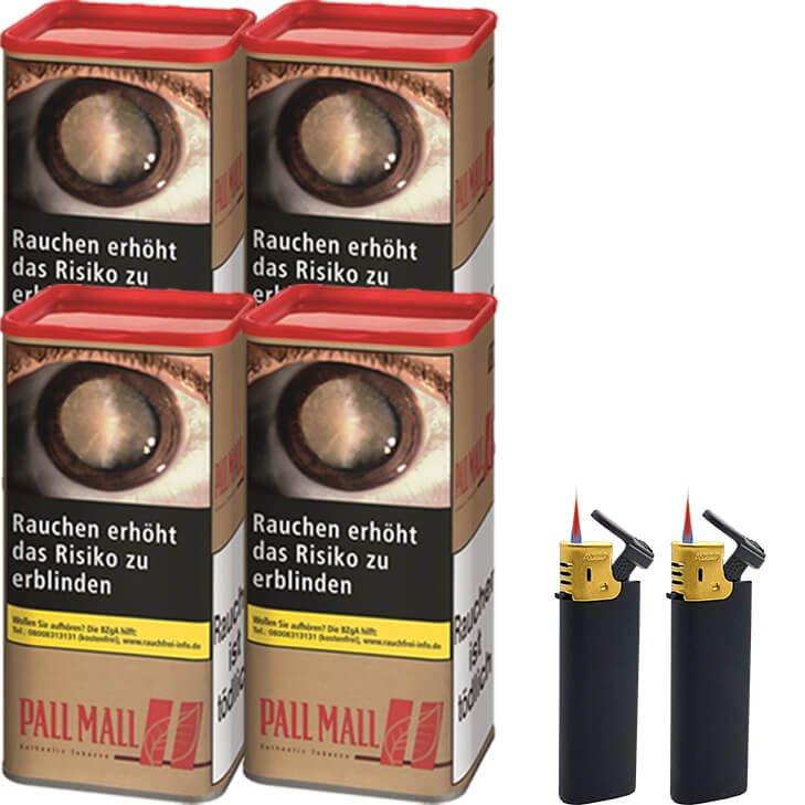 Pall Mall Authentic Red 4 x 95g mit Feuerzeugen