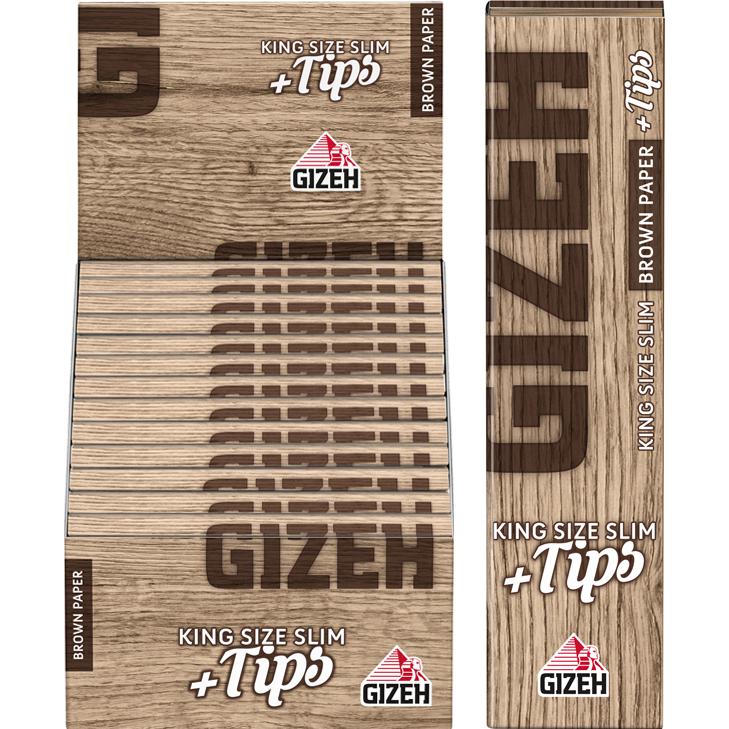Gizeh Brown King Size Slim 26 x 34 Blatt + Tips