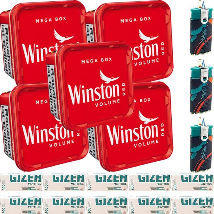 Winston Mega Box 5 x 155g mit 2000 Menthol King Size Hülsen