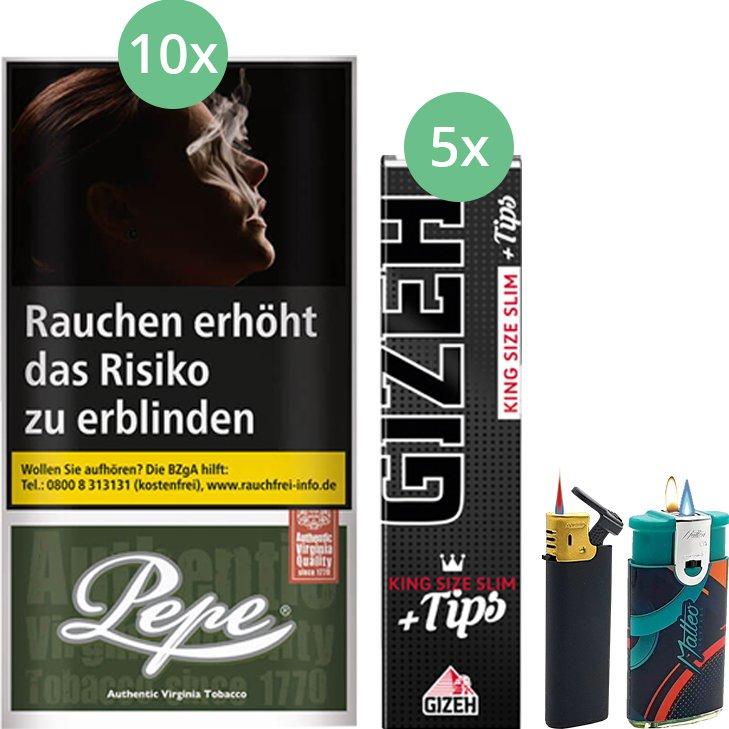 Pepe Dark Green 10 x 30g mit Gizeh Black Filter King Size Slim + Tips