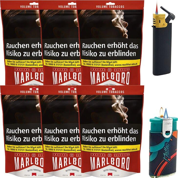 Marlboro Crafted Selection 6 x 130g mit Feuerzeugen