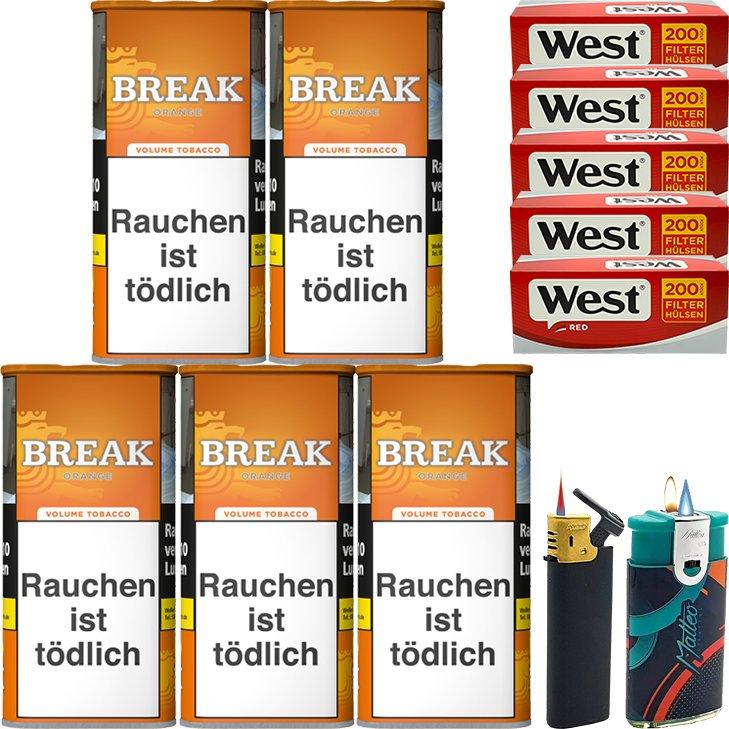 Break Orange 5 x 110g mit 1000 King Size Hülsen