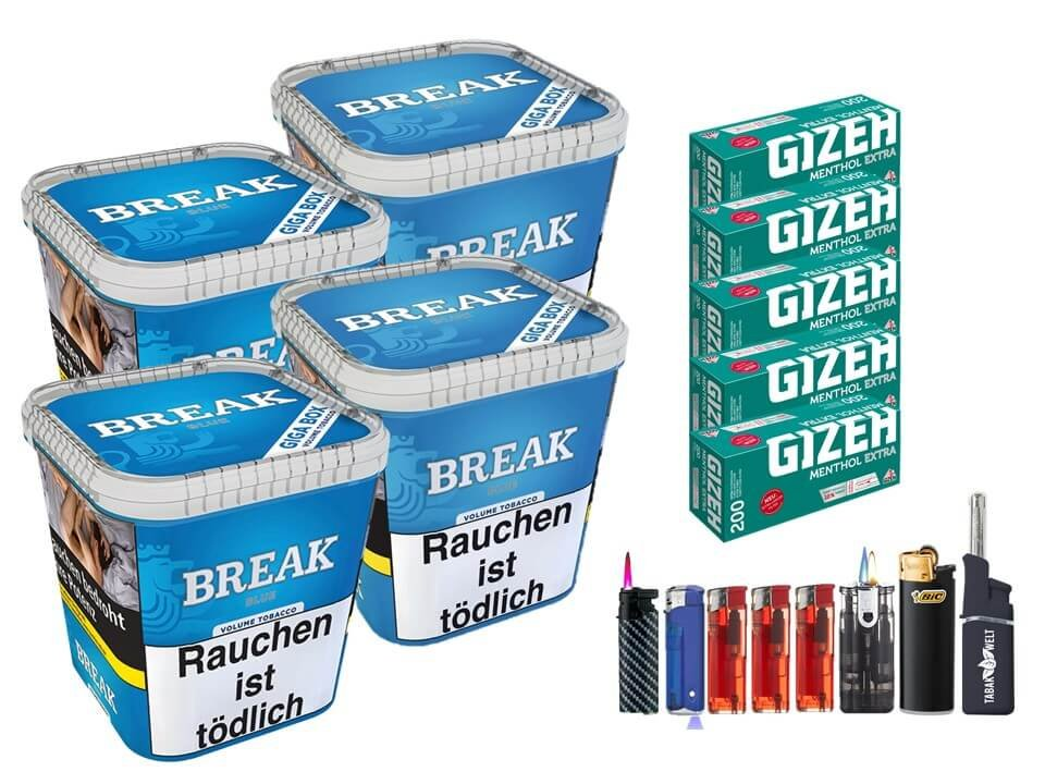 Break Blue / Blau 4 x 230g Volumentabak 1000 Filterhülsen Uvm.