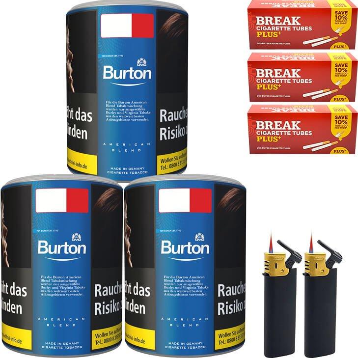 Burton Blue / Blau 3 x 120g mit 600 Plus Hülsen