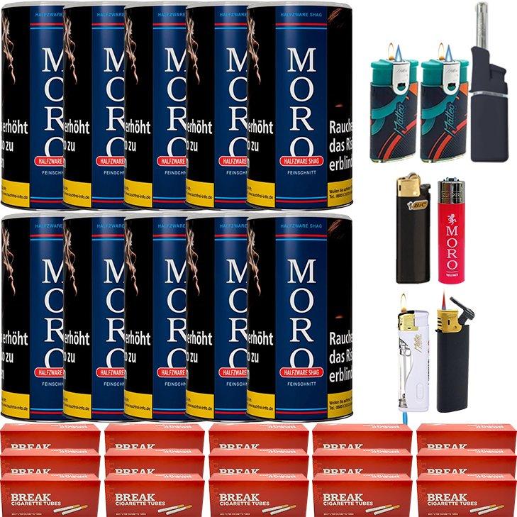 Moro Blau Feinschnittabak 10 x 180g mit 3000 Hülsen