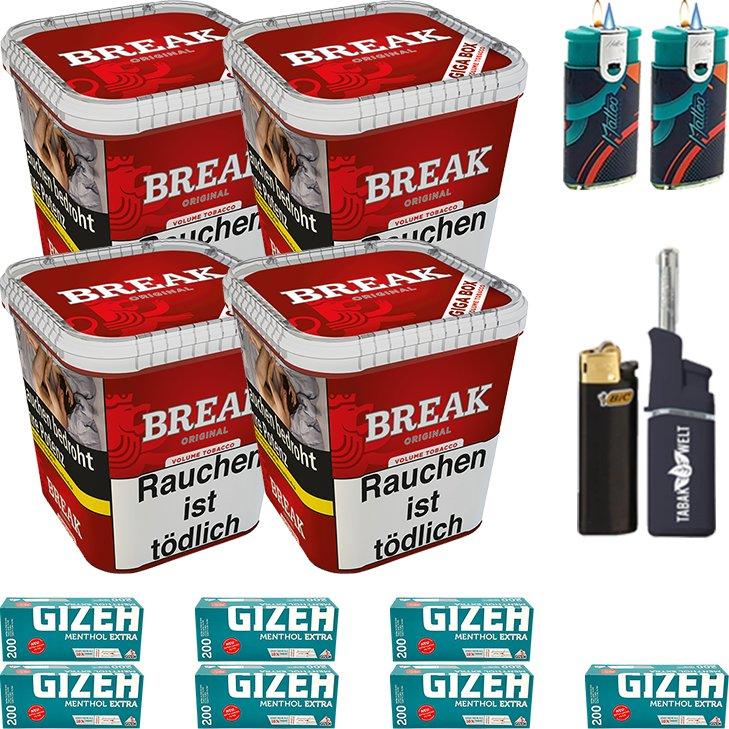 Break Original 4 x 230g mit 1400 Menthol Extra Hülsen