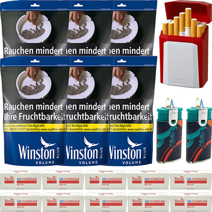 Winston Blue 6 x 125g mit 2000 King Size Hülsen