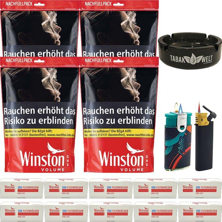 Winston Red 4 x 185g mit 2000 King Size Hülsen