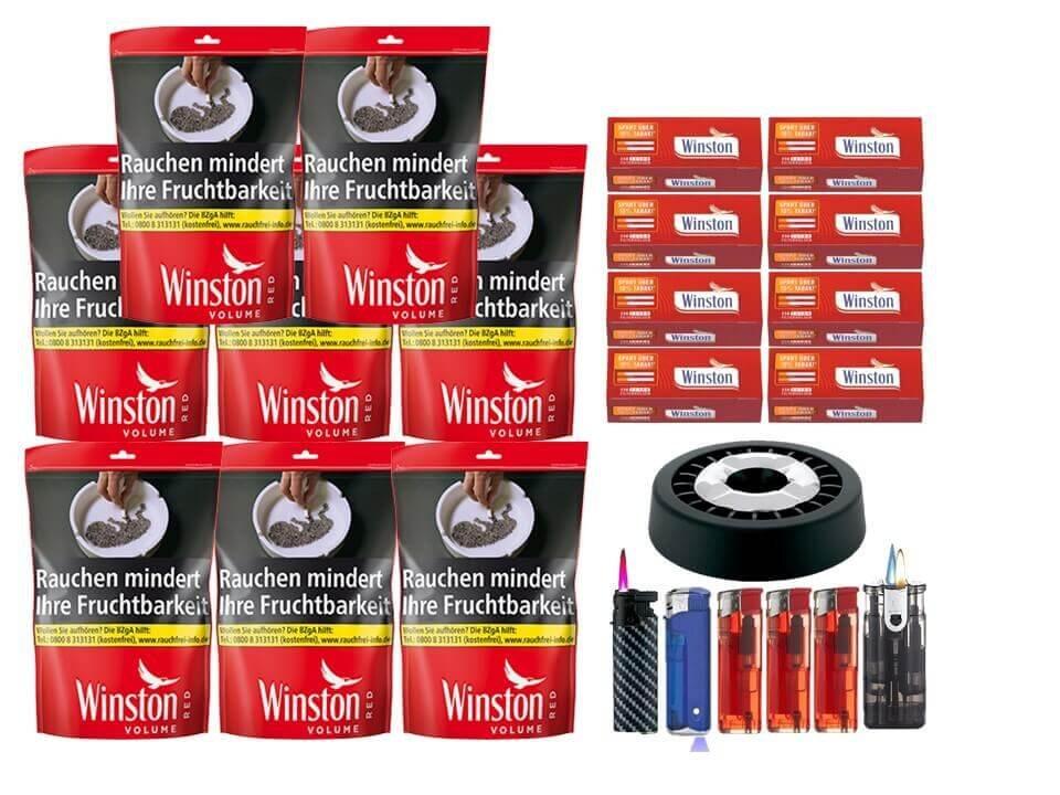 Winston Red 8 x 125g Volumentabak Beutel 2000 Winston Extra Filterhülsen Uvm.