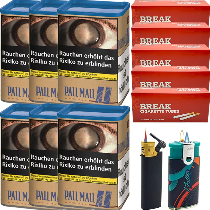 Pall Mall Authentic Blue 6 x 55g mit 1000 King Size Hülsen