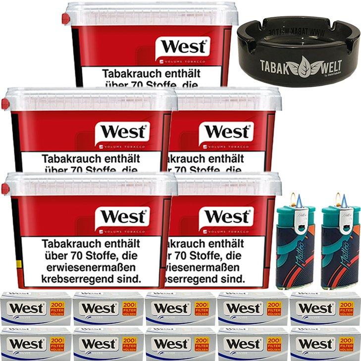 West Red 5 x 155g mit 2000 Silver King Size Hülsen