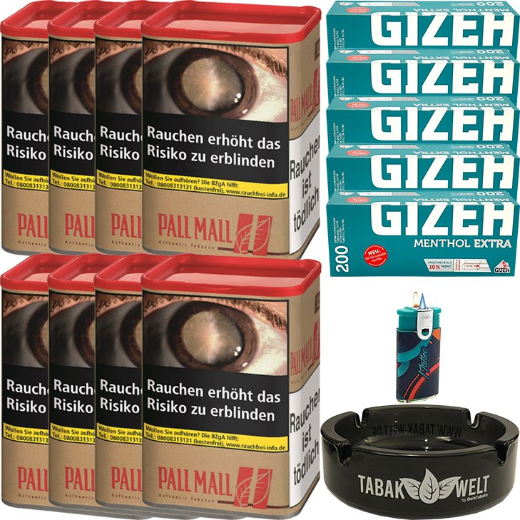 Pall Mall Authentic Red 8 x 55g mit 1000 Menthol Extra Hülsen