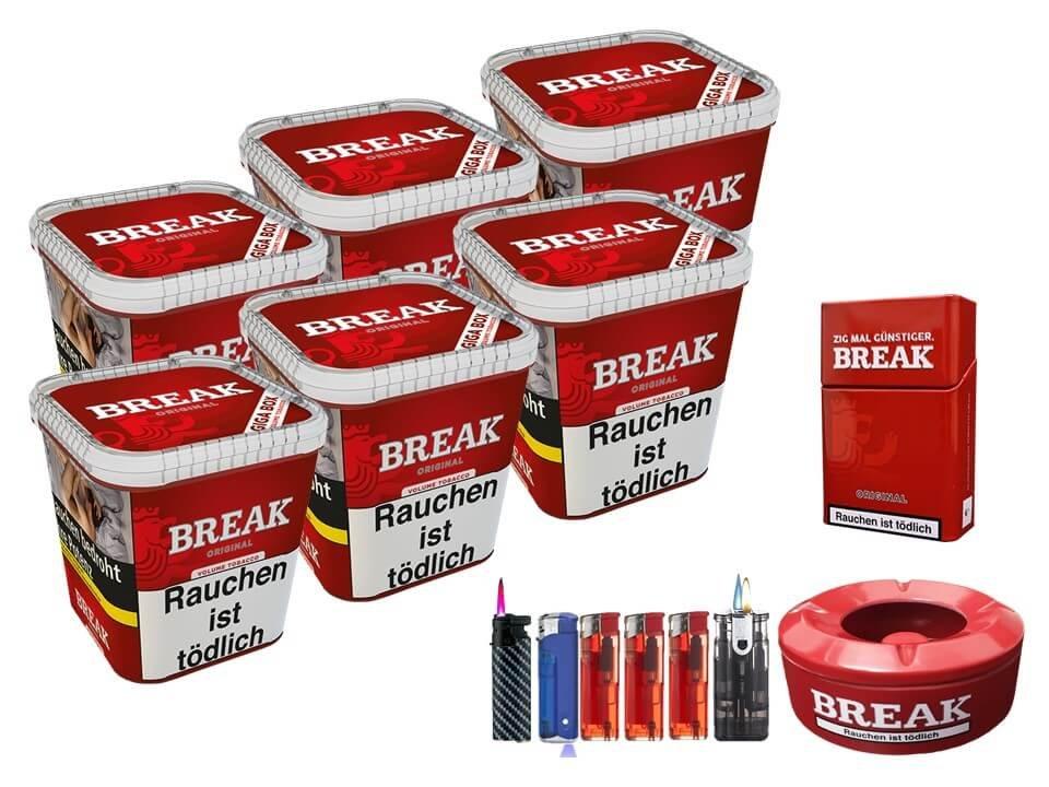 Break Original 6 x 230g Volumentabak Feuerzeug Set Uvm.