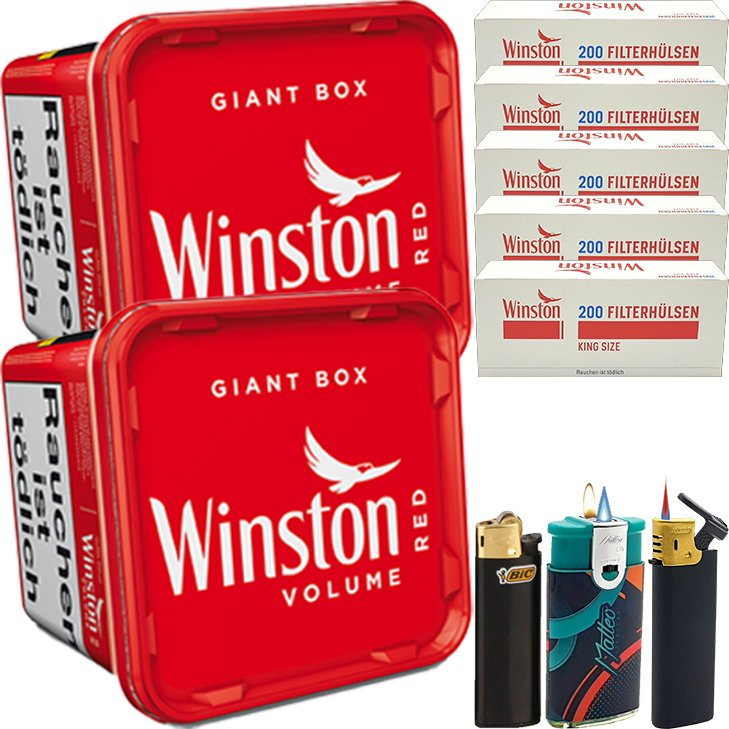Winston Giant Box 2 x 260g mit 1000 King Size Hülsen
