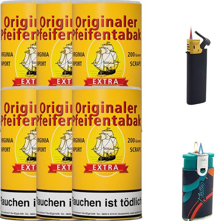 Originaler Pfeifentabak 6 x 200g mit Duo Feuerzeug