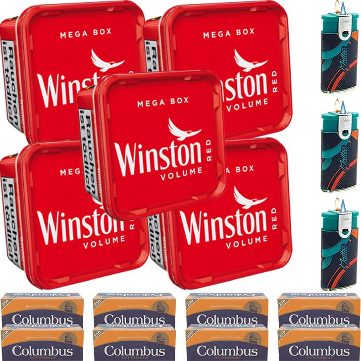 Winston Mega Box 5 x 155g mit 2000 King Size Hülsen