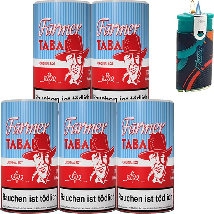 Farmer Rot 5 x 160g Pfeifentabak mit Duo Feuerzeug