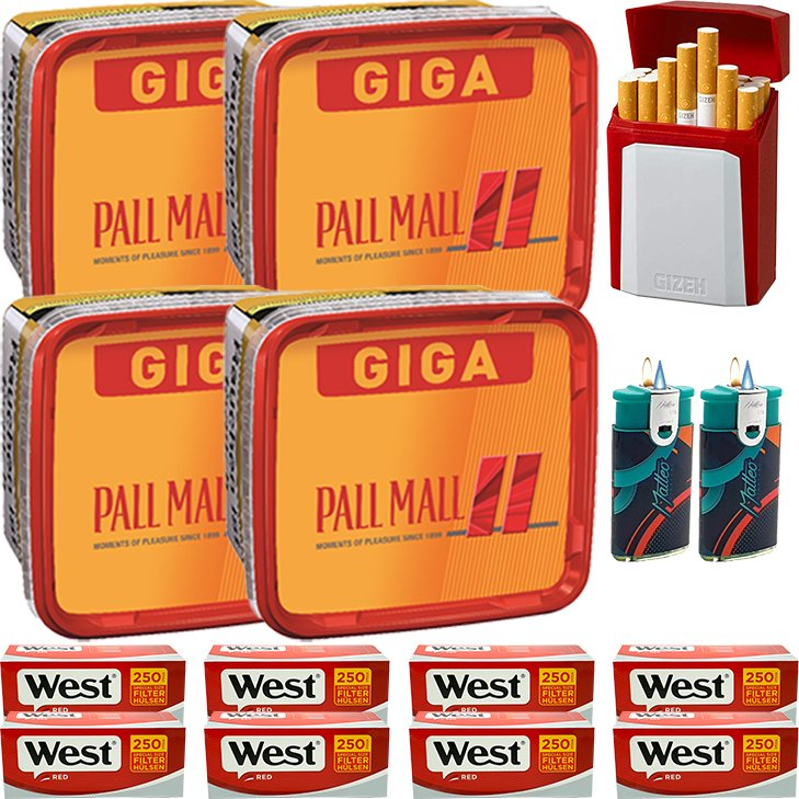Pall Mall Allround Red 4 x 260g mit 2000 Special Size Hülsen