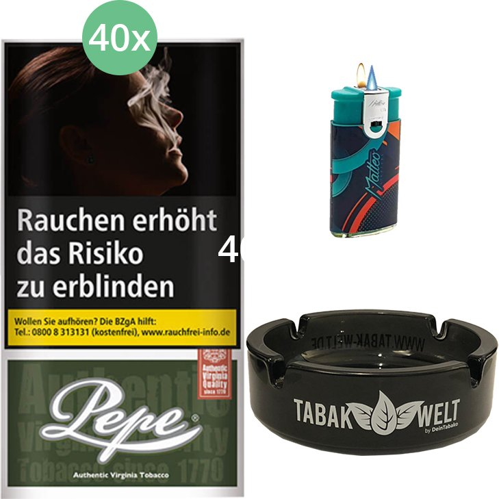 Pepe Dark Green 40 x 30g mit Aschenbecher