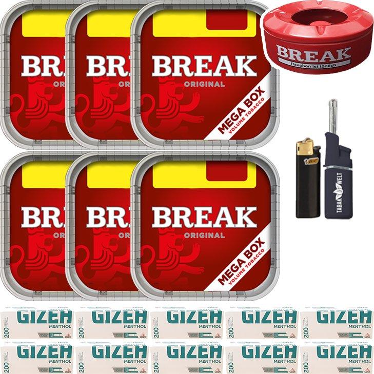 Break Original 6 x 170g mit 2000 Menthol Hülsen