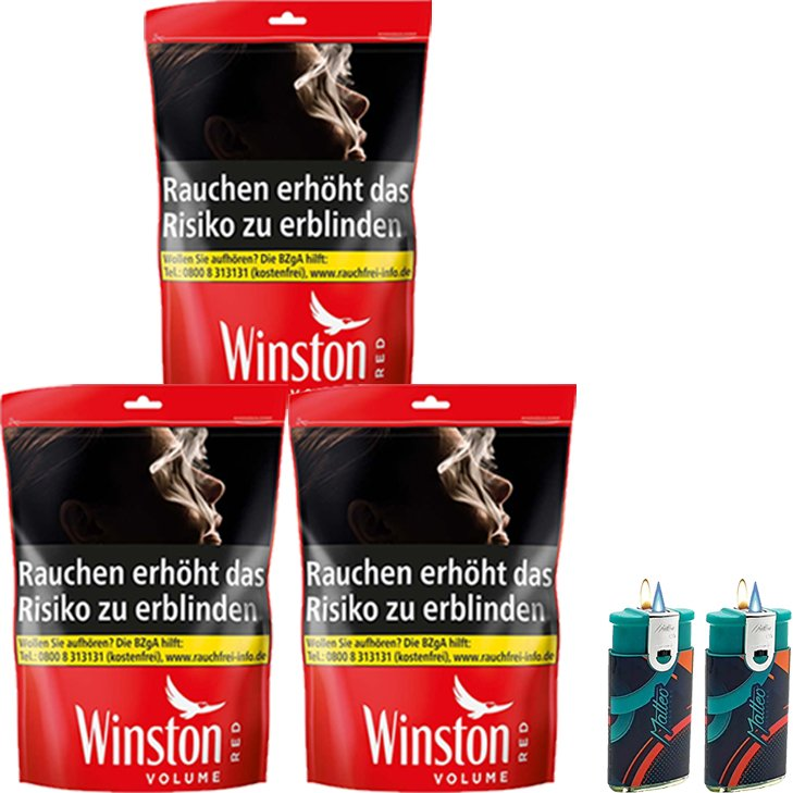 Winston Red 3 x 185g mit Duo Feuerzeuge
