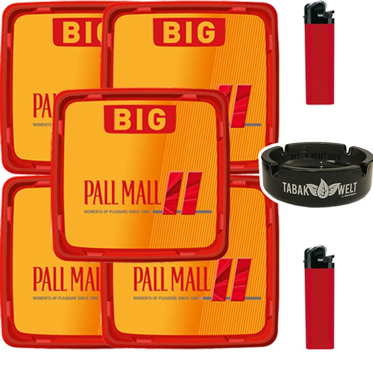 Pall Mall Allround Red 5 x 120g mit Glasaschenbecher