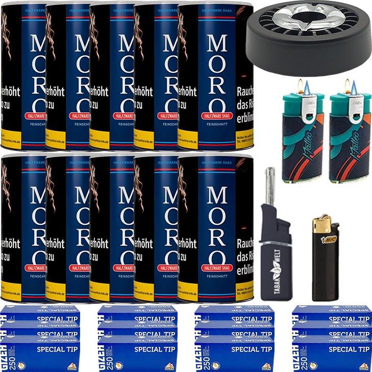 Moro Blau Feinschnittabak 10 x 180g mit 3000 King Size Hülsen