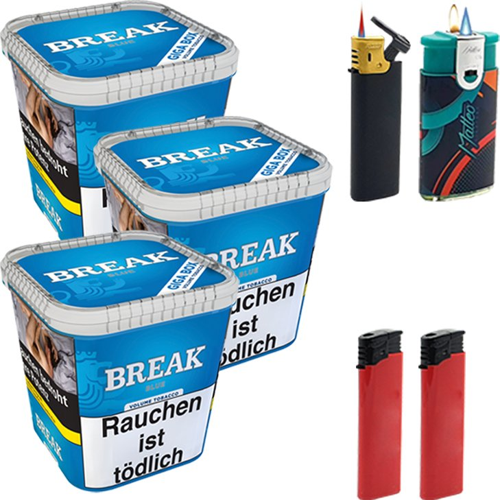 Break Blue 3 x 230g mit Feuerzeugen