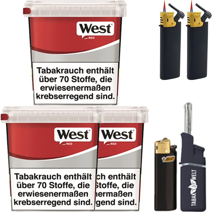 West Red 3 x 280g mit Feuerzeugen