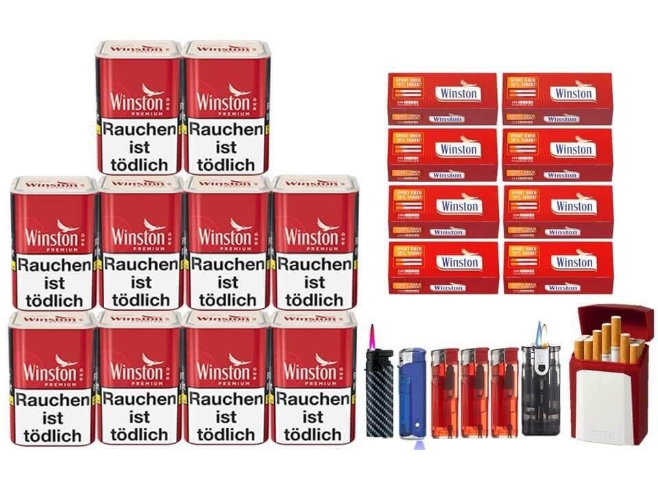 Winston Premium Red 10 x 90g Feinschnitt 2000 Extra Filterhülsen Uvm.
