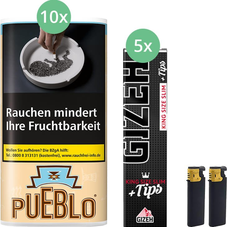 Pueblo Classic 10 x 30g mit Gizeh Black Filter King Size Slim + Tips