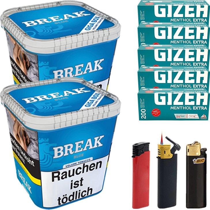 Break Blue 2 x 230g mit 1000 Menthol Extra Hülsen