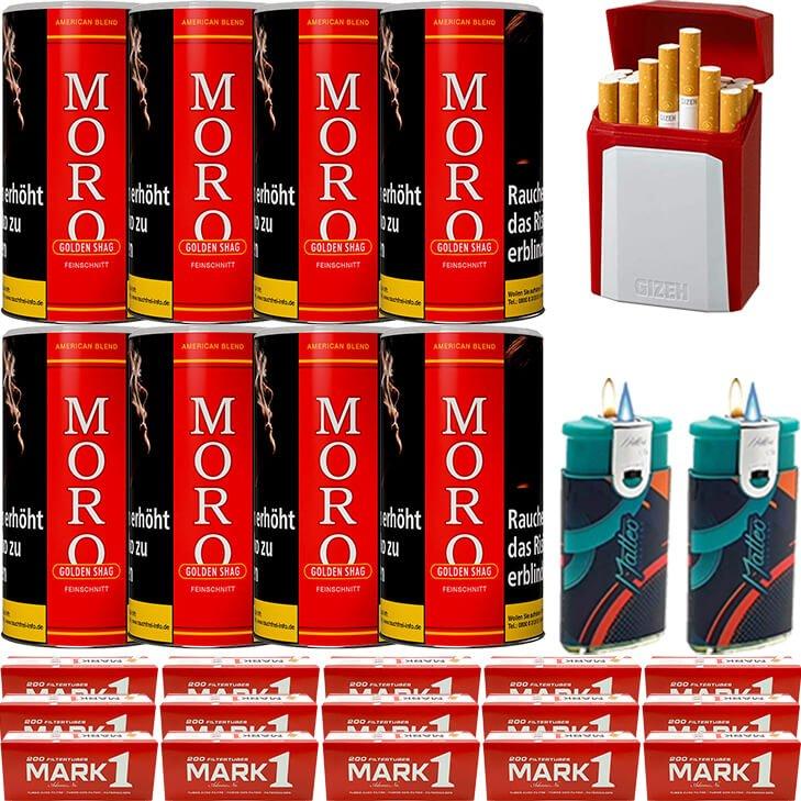 Moro Rot Feinschnittabak 8 x 180g mit 3000 King Size Hülsen
