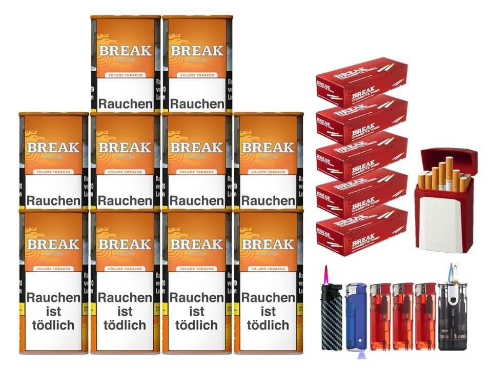Break Orange 10 x 110g Volumentabak 1000 Break Filterhülsen Uvm.