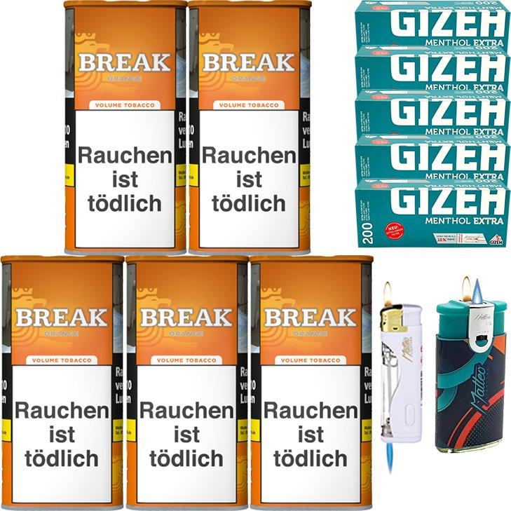 Break Orange 5 x 110g mit 1000 Menthol Extra Hülsen