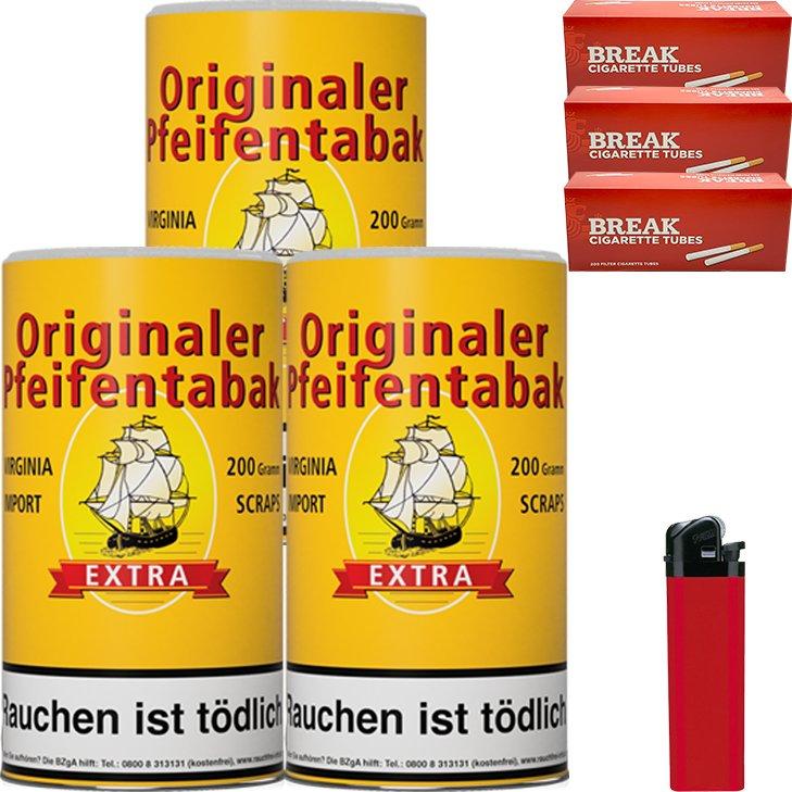 Originaler Pfeifentabak 3 x 200g mit 600 Hülsen