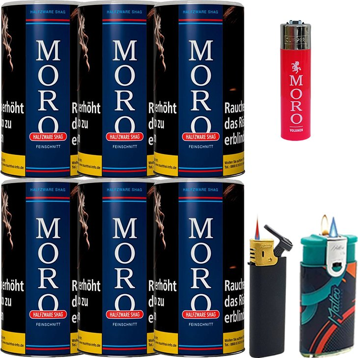 Moro Blau Feinschnittabak 6 x 180g mit Feuerzeugen