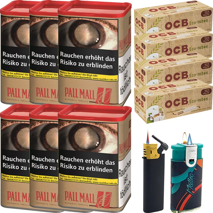 Pall Mall Authentic Red 6 x 55g mit 1000 Eco-Tubes Hülsen