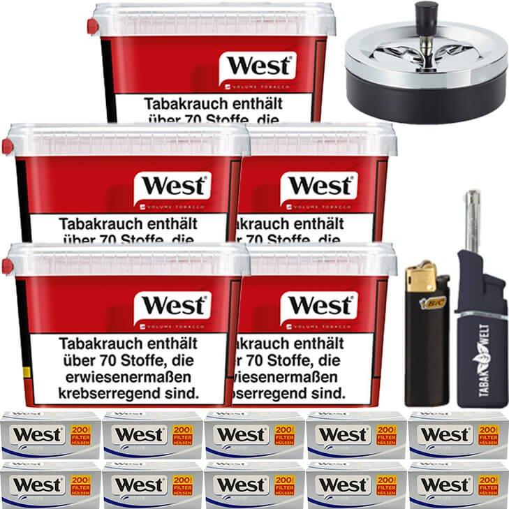 West Red 5 x 170g mit 2000 Silver King Size Hülsen