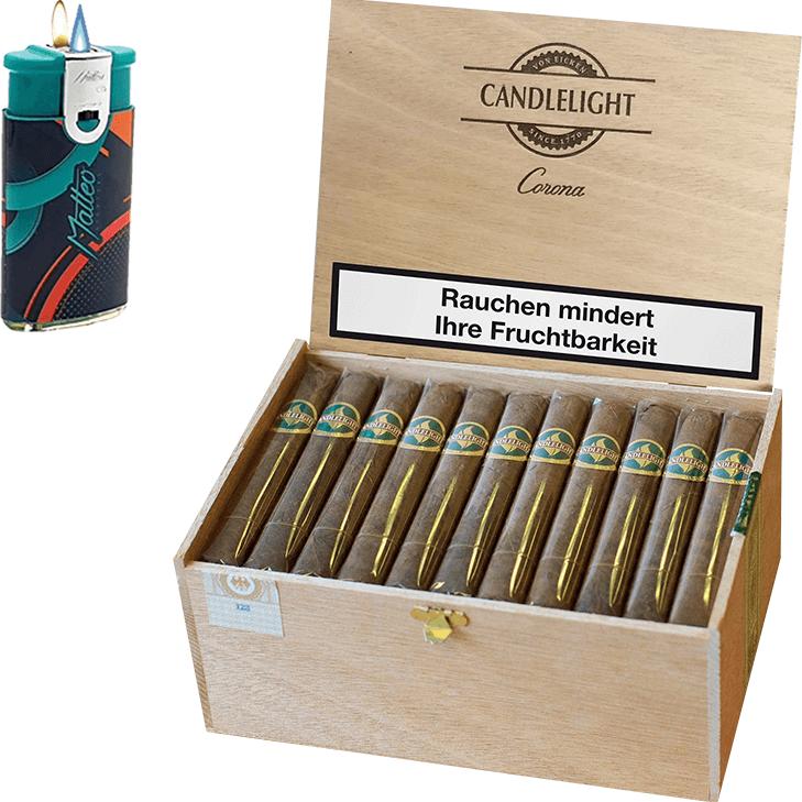 Candlelight Corona Brasil 1 x 50 Zigarren mit Duo Feuerzeug