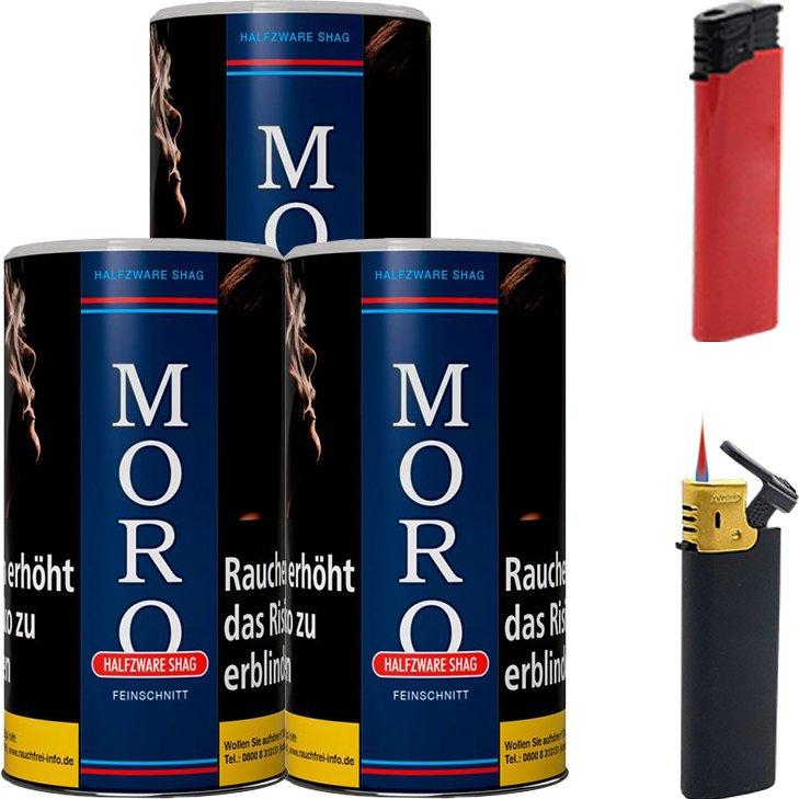 Moro Blau Feinschnitttabak 3 x 180g mit Feuerzeugen