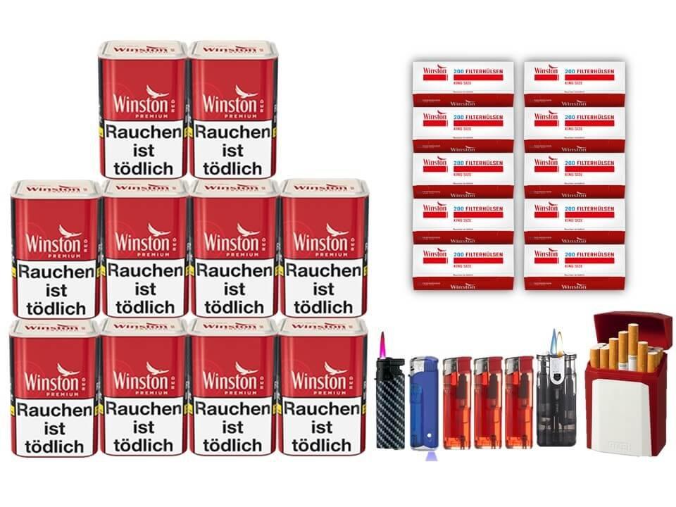 Winston Premium Red 10 x 90g Feinschnitt 2000 Hülsen