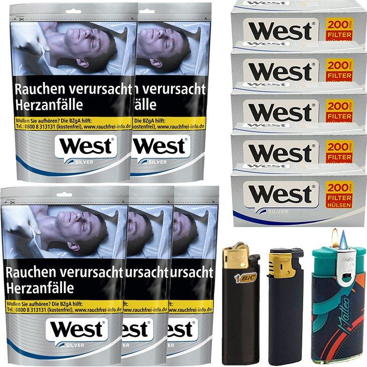 West Silver 5 x 105g mit 1000 Silver King Size Hülsen
