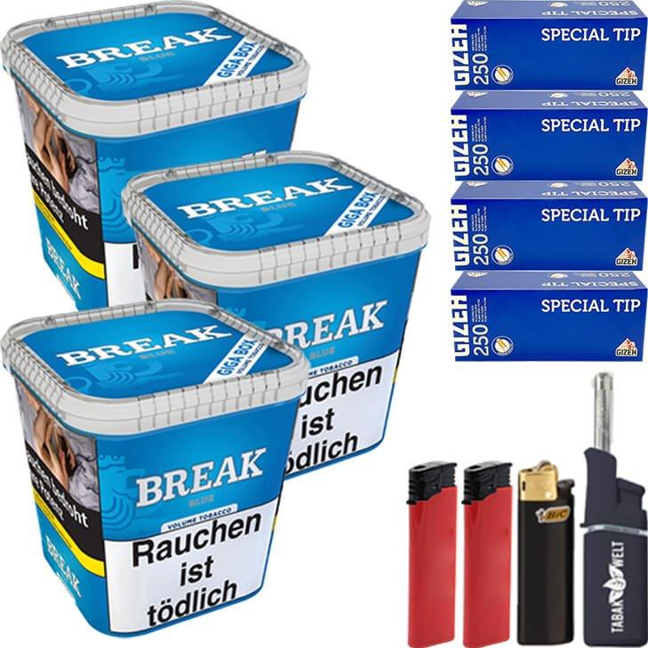 Break Blue 3 x 230g mit 1000 King Size Hülsen