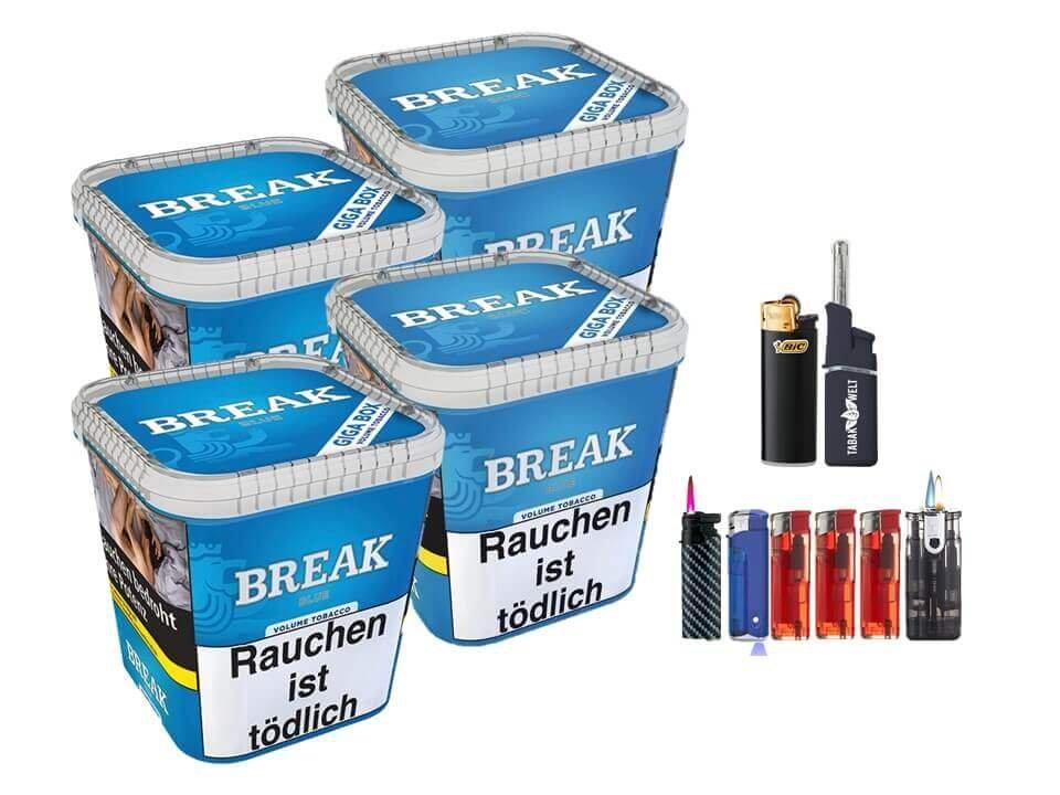 Break Blue / Blau 4 x 230g Volumentabak Feuerzeug Set