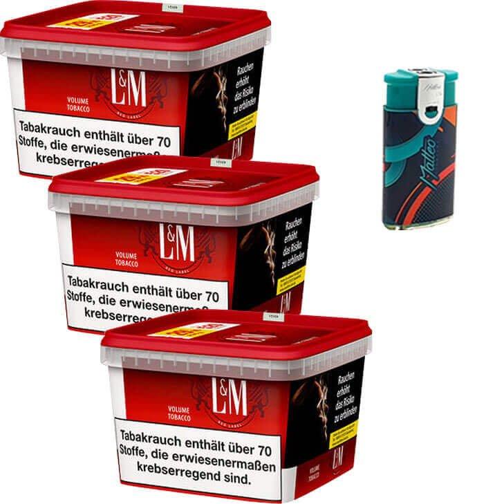 L&M Red Mega Box 3 x 155g mit Duo Feuerzeuge mit 2 Flammen